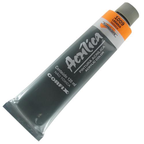 Tinta Acrílica Fluorescente Corfix 120ml 1009 Laranja