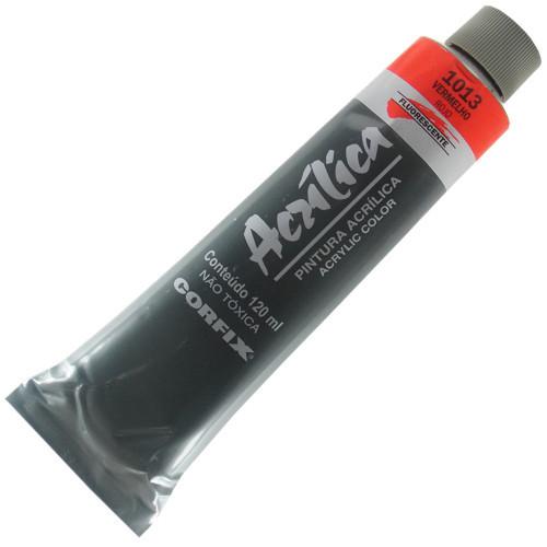 Tinta Acrílica Fluorescente Corfix 120ml 1013 Vermelho