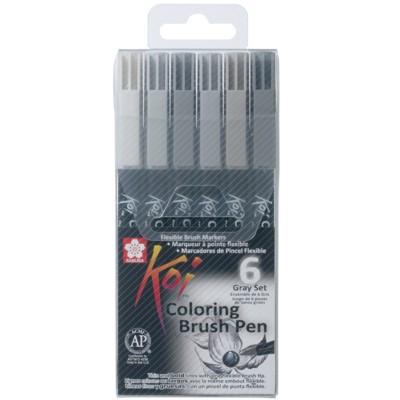 Caneta Brush Pen Sakura 06 Cores Tons de Cinza