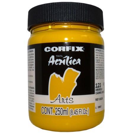Tinta Acrílica Arts Corfix 250ml 123 Amarelo Cádmio (IMIT) G1