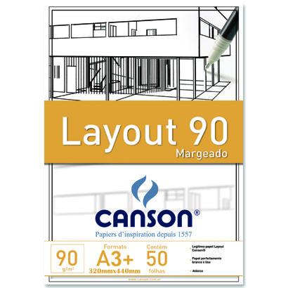 Bloco Layout Canson Margeado A3 090g/m²