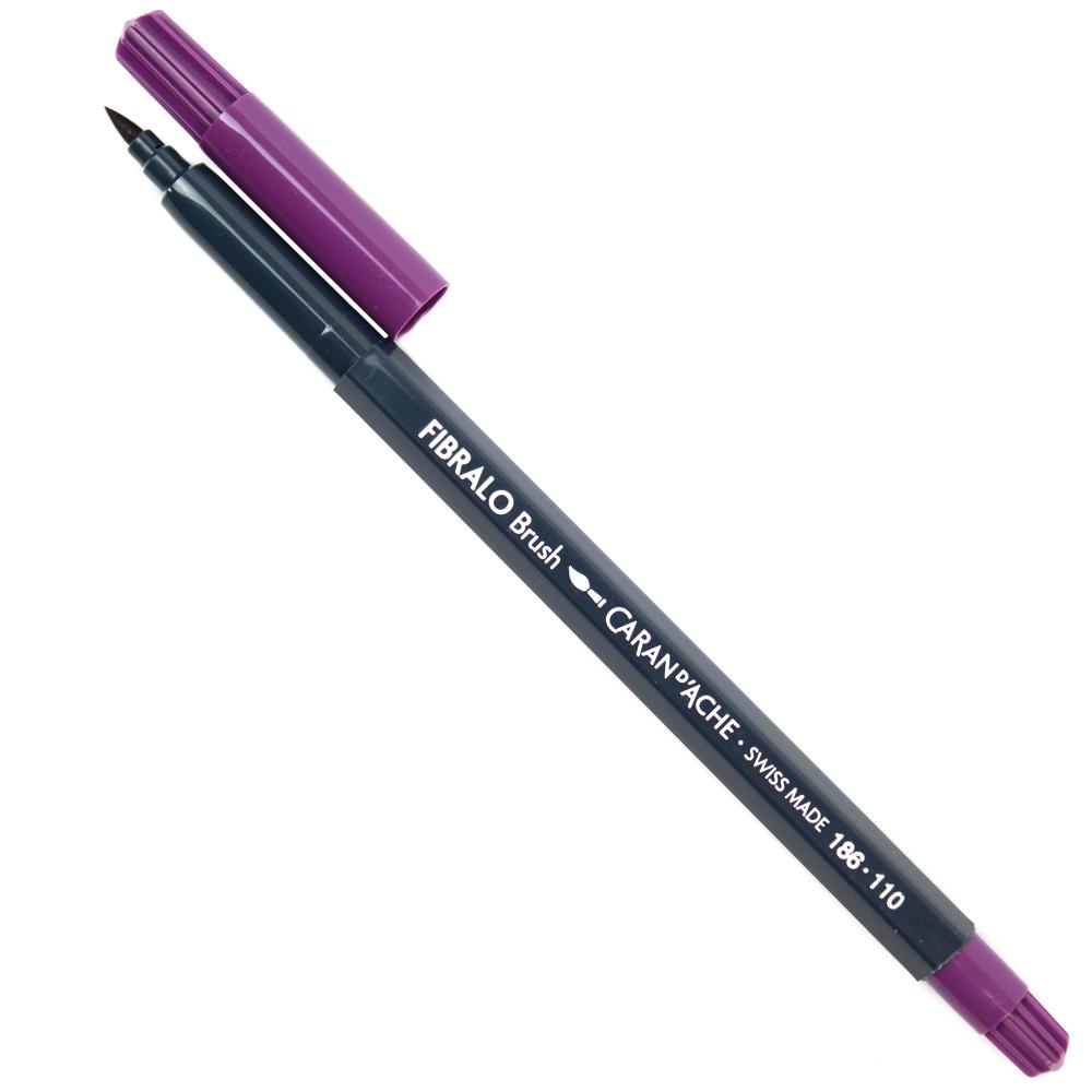Caneta Fibralo Brush Caran d'Ache Aquarelável Violeta 110