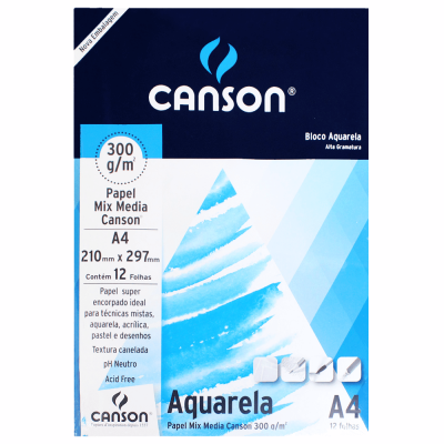 Papel Para Aquarela Canson Mix Media A4 300g/m²