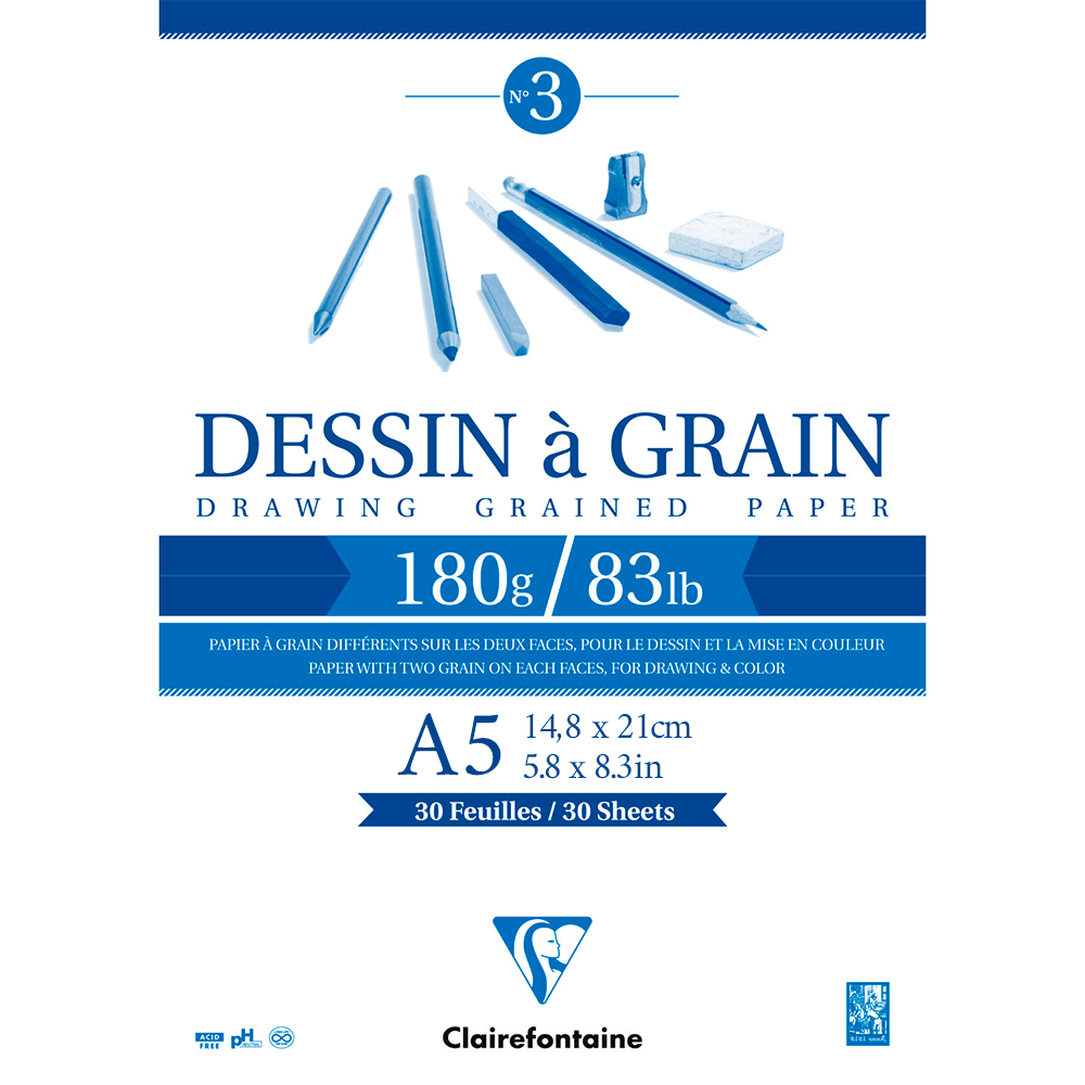 Bloco de Desenho Dessin à Grain A5 180g/m²
