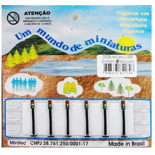Miniatura de Semáforo 1/200 Minitec - 06 Peças 2205