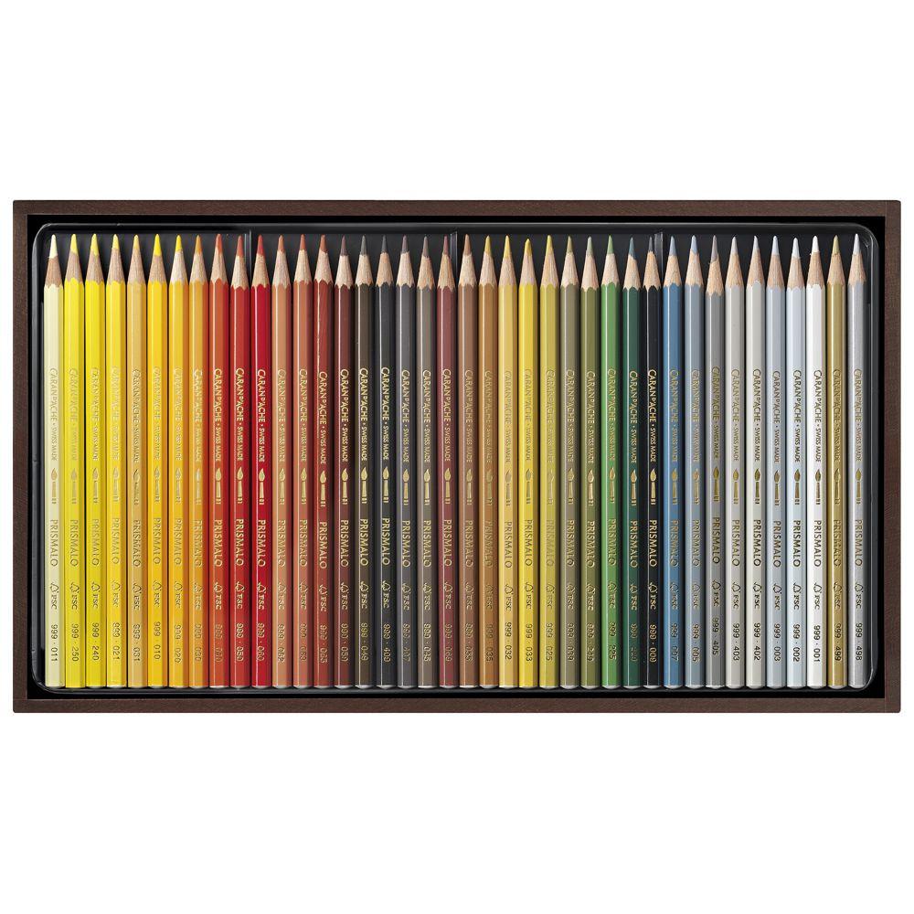 Estojo Lápis Aquarelável Caran D'Ache Prismalo 80 Cores Cx de Madeira
