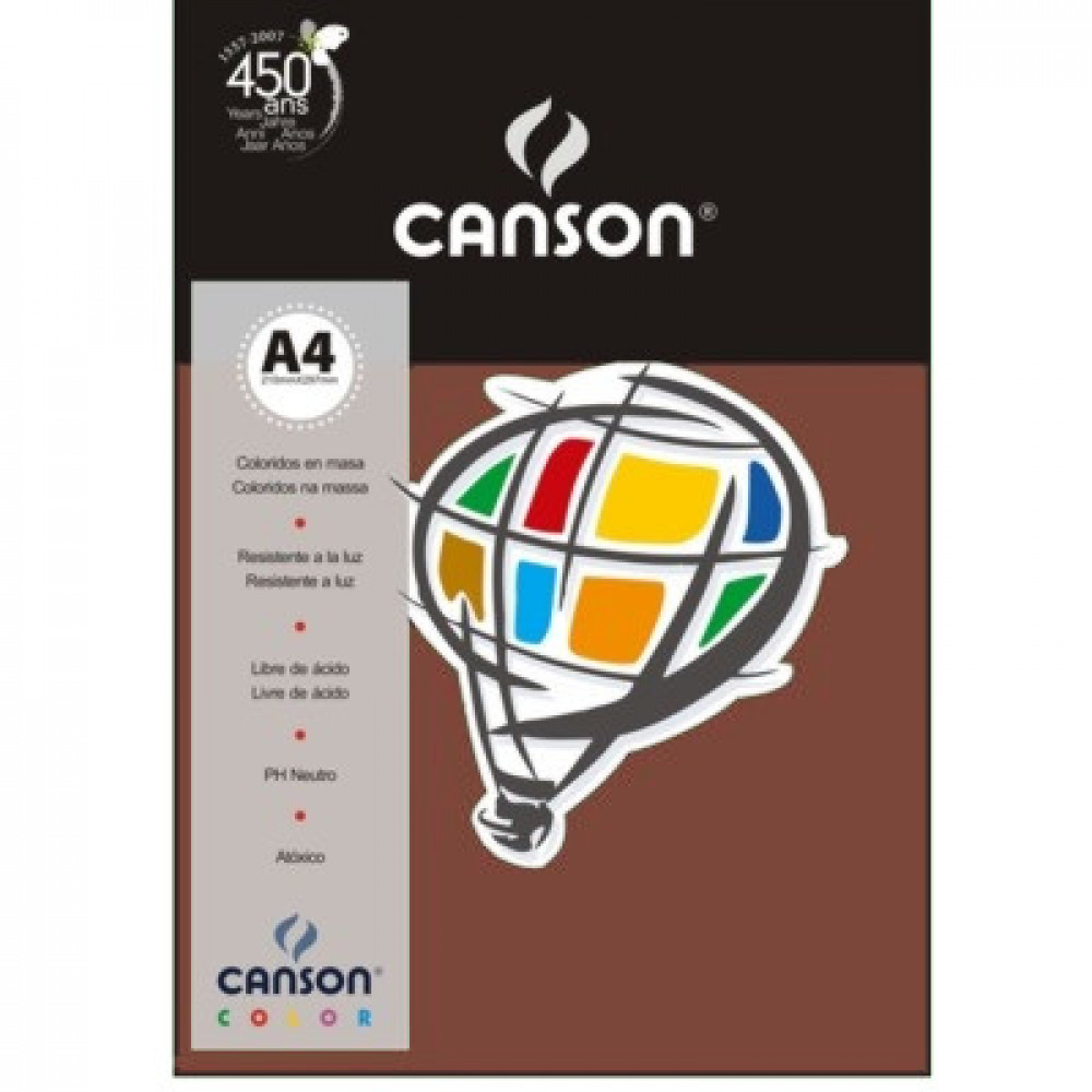 Papel Colorido Canson 180g/m² A4 24 Chocolate