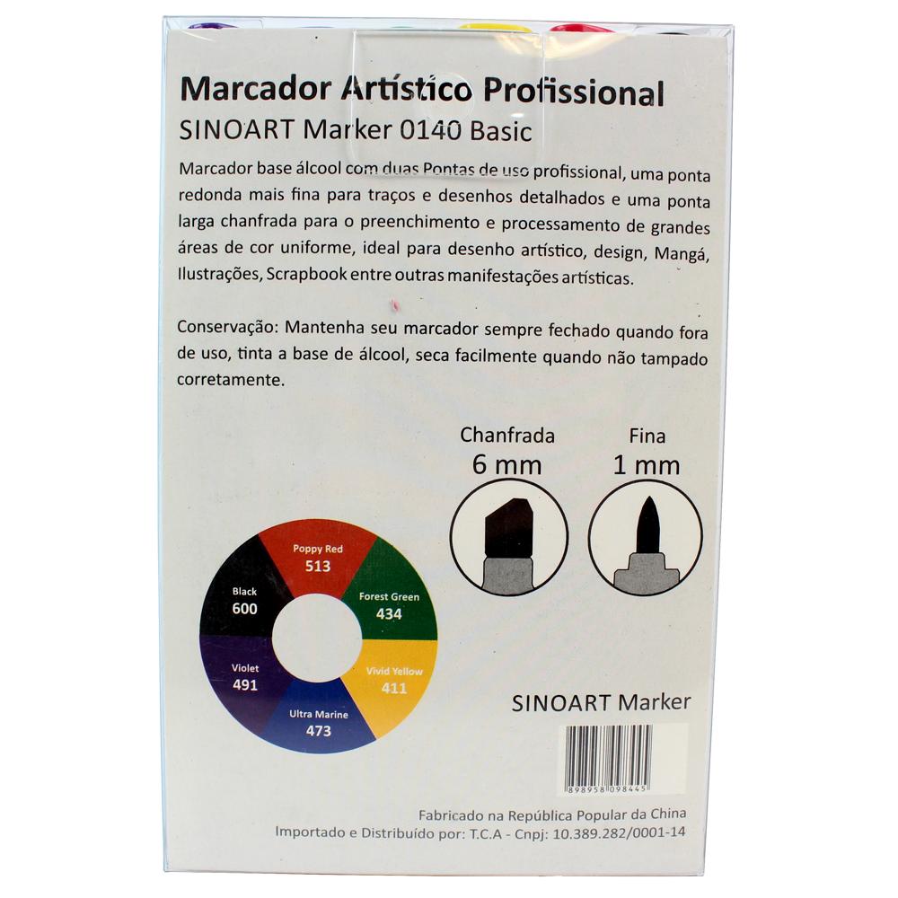 Marcador Artístico Sinoart Marker 06 Tons Básicos