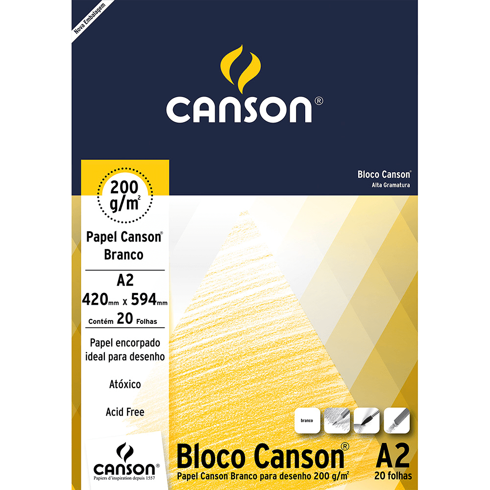 Papel Para Desenho Canson 220g/m² A2 Branco