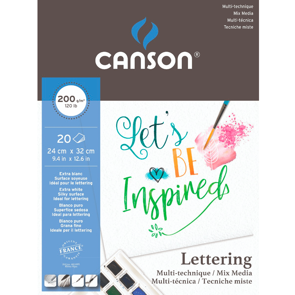 Bloco Para Lettering Canson Mix Media 200g/m² A4