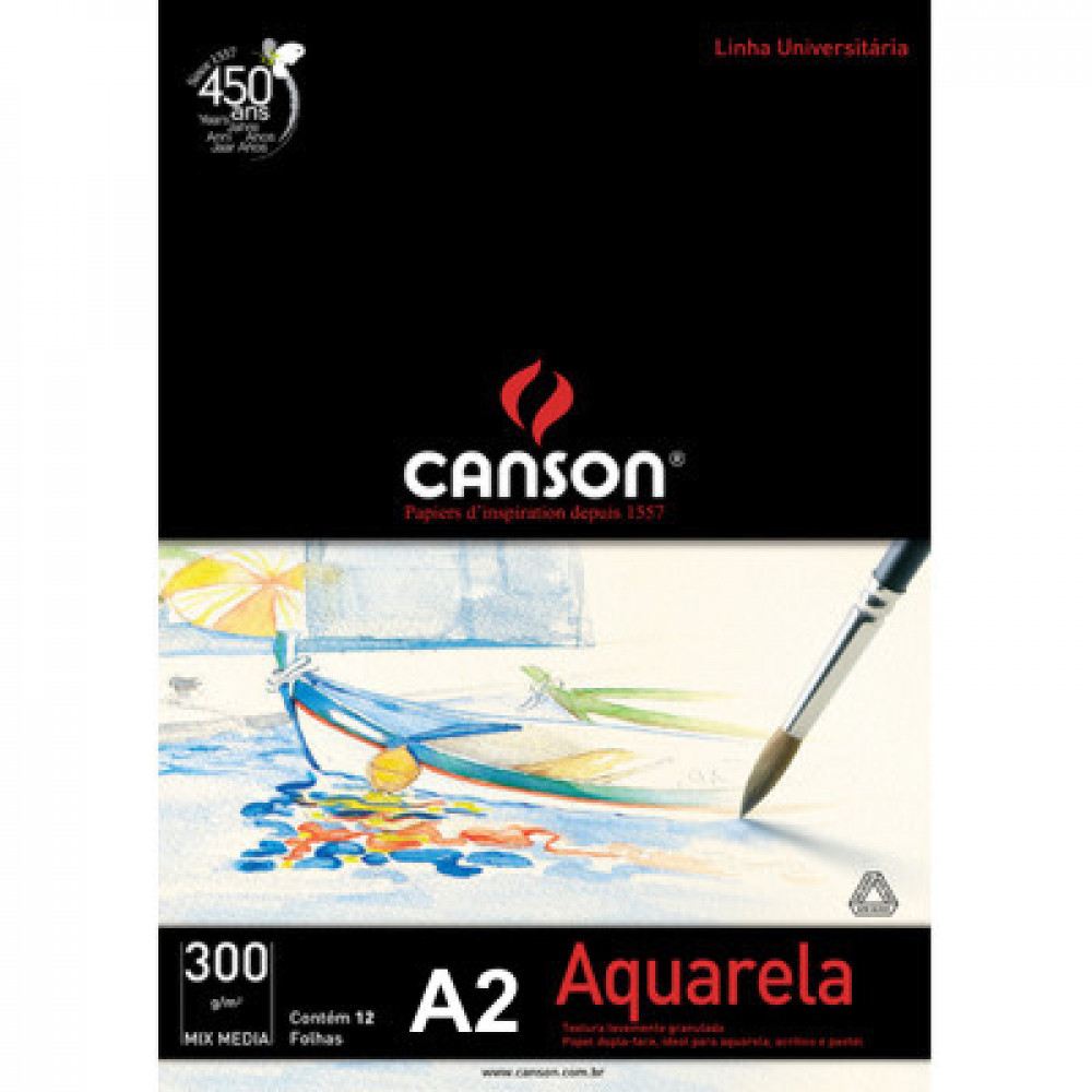 Papel Para Aquarela Canson Mix Media A2 300g/m²