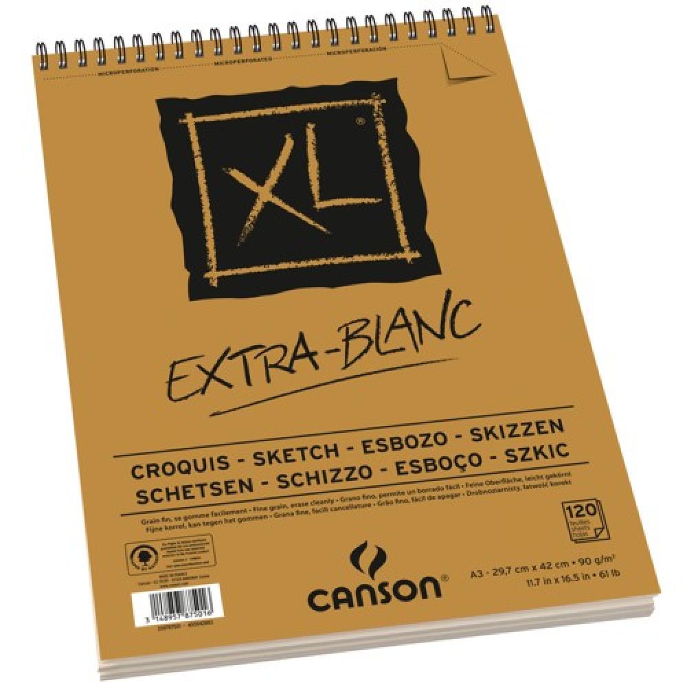 Bloco de Desenho Canson XL Extra Blanc 90g/m² A3