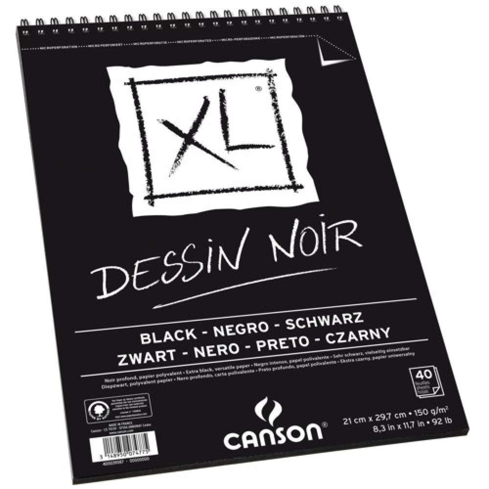 Bloco de Desenho Canson XL Dessin Noir 150g/m² A4