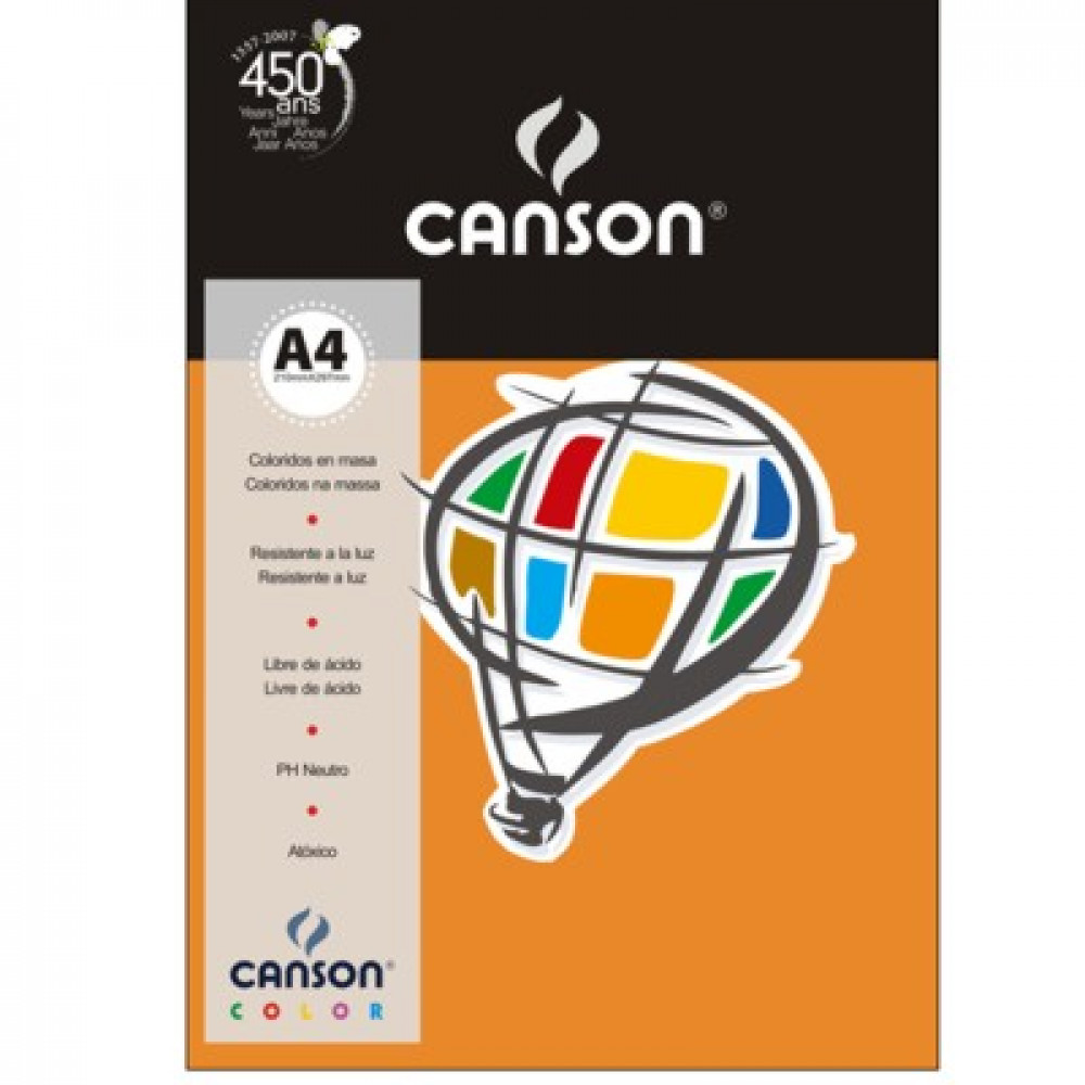 Papel Colorido Canson 180g/m² A4 07 Laranja