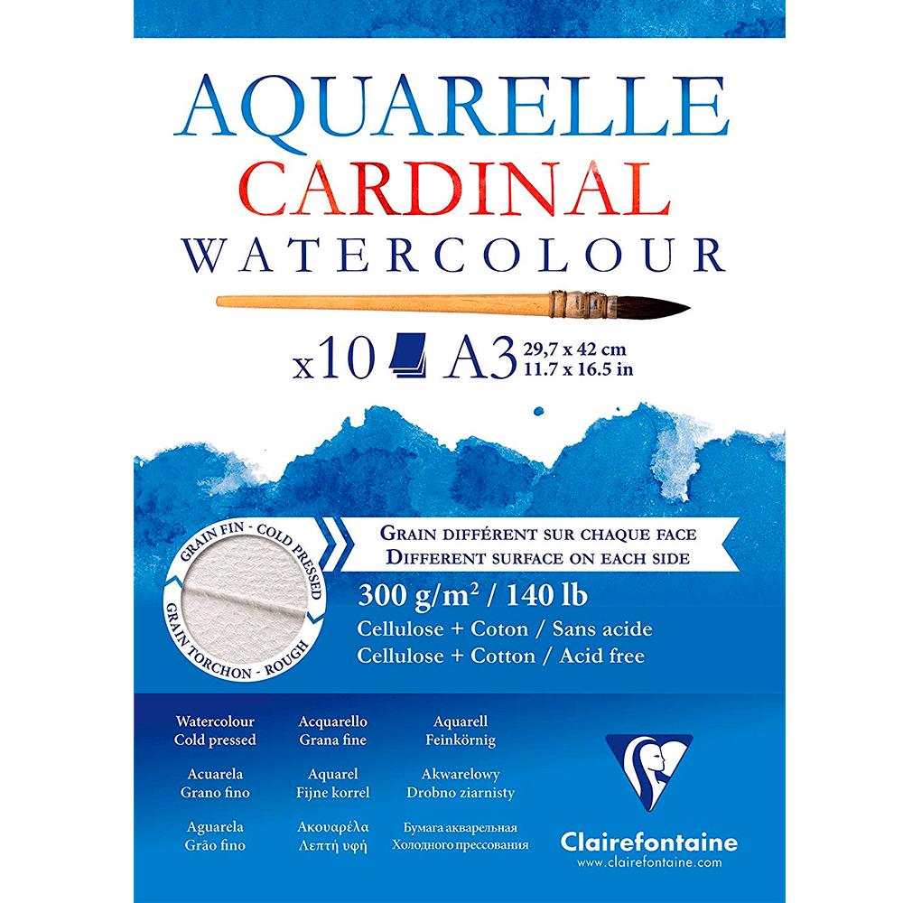 Papel para Aquarela Clairefonatine Cardinal 300g/m² A3