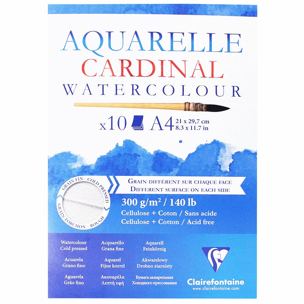 Papel para Aquarela Clairefonatine Cardinal 300g/m² A4