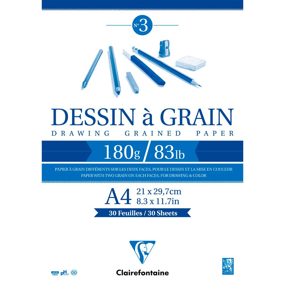 Bloco de Desenho Clairefontaine Dessin à Grain A4 180g/m²