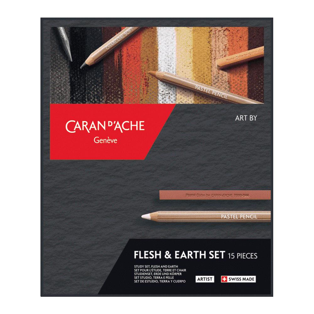 Estojo Flesh & Earth Caran D'Ache 15 Peças