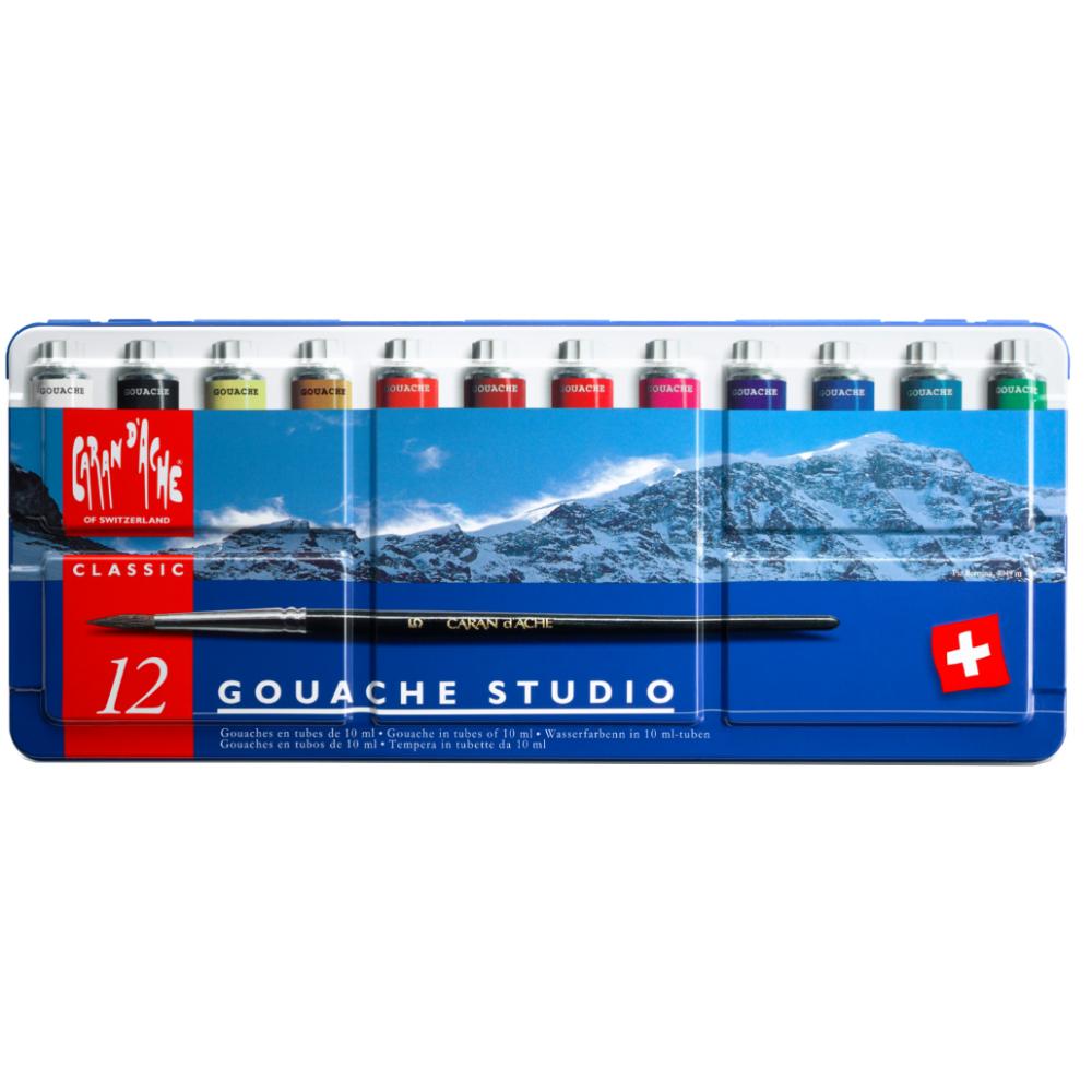 Tinta Gouache CARAN d'ACHE Studio 12 Cores Tubos