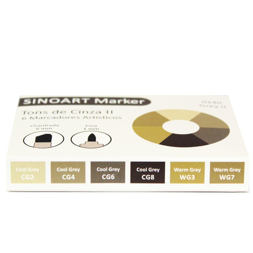 Marcador Artístico Sinoart Marker 06 Tons de Cinza II