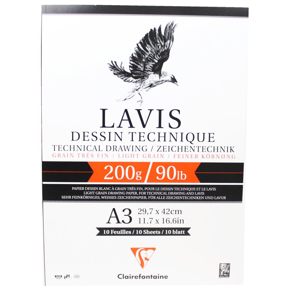 Papel Para Desenho Técnico Clairefontaine Lavis A3 200g/m² 10 Folhas