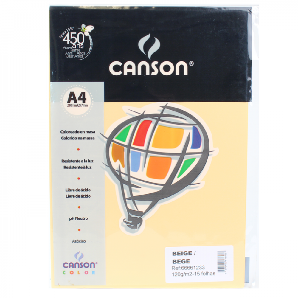 Papel Colorido Canson 120g/m² A4 15 Folhas Bege