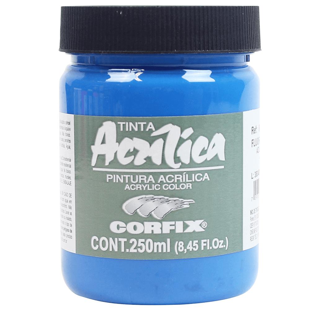 Tinta Acrílica Fluorescente Corfix 250ml 1023 Azul