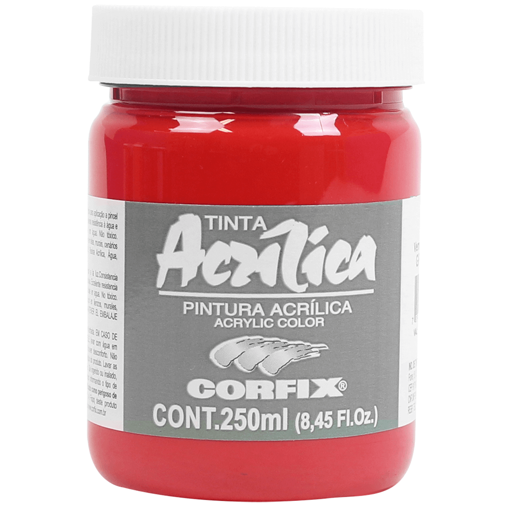 Tinta Acrílica Corfix 250ml 129 Vermelho Cadmio Claro G1