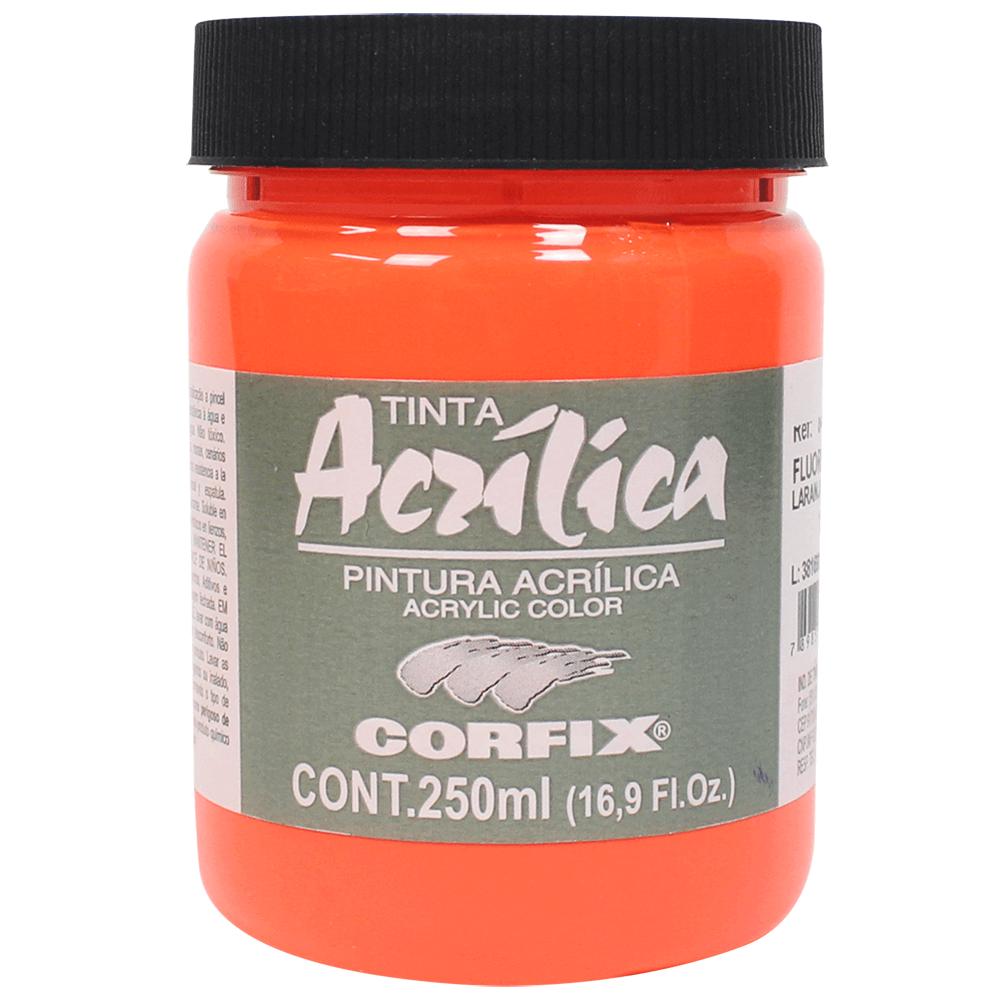 Tinta Acrílica Fluorescente Corfix 250ml 1010 Laranja Fogo