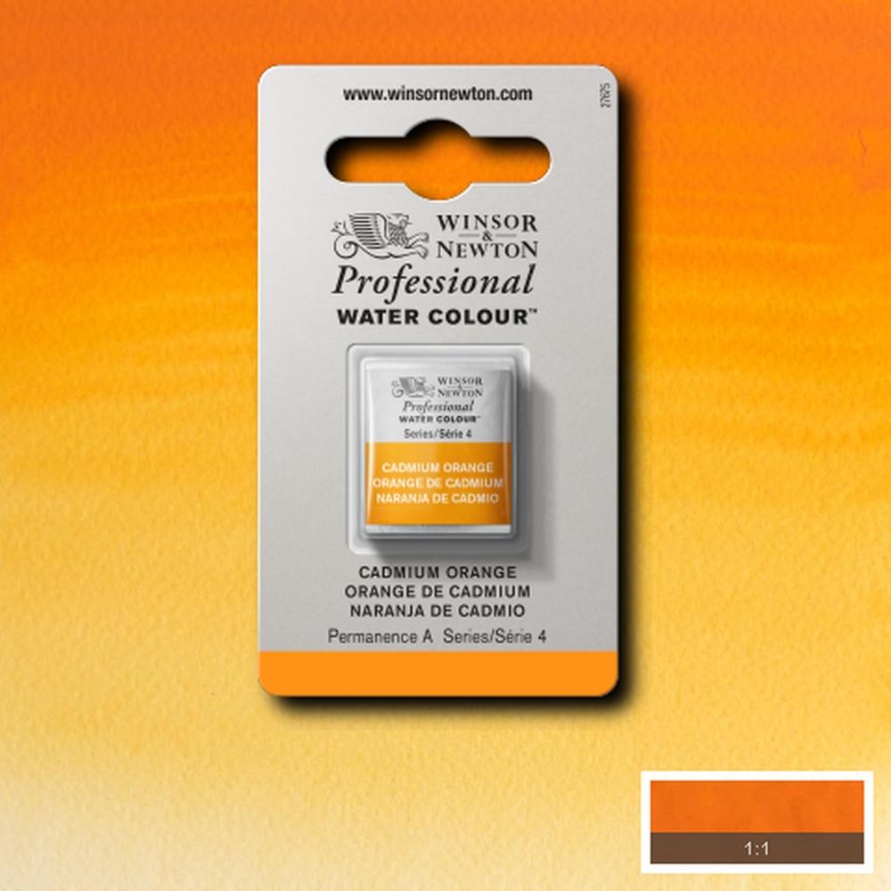 Tinta Aquarela Winsor & Newton Profissional Pastilha S4 089 Cadmium Orange