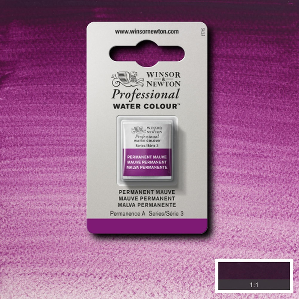 Tinta Aquarela Winsor & Newton Profissional Pastilha S3 491 Permanent Mauve