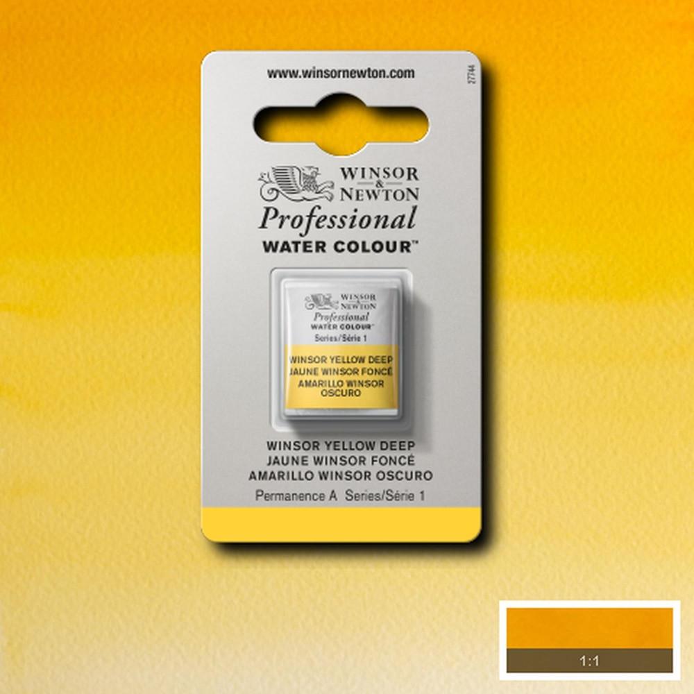 Tinta Aquarela Winsor & Newton Profissional Pastilha S1 731 Winsor Yellow Deep