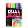 Caneta Pincel Dual Brush Tombow 10 Cores Vibrantes
